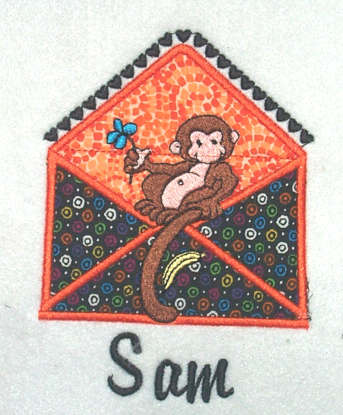 Applique Envelope Monkey