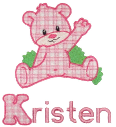 Applique Retro Gingham Bear