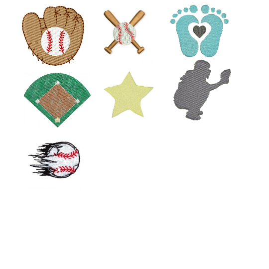 baseball embroidery motifs