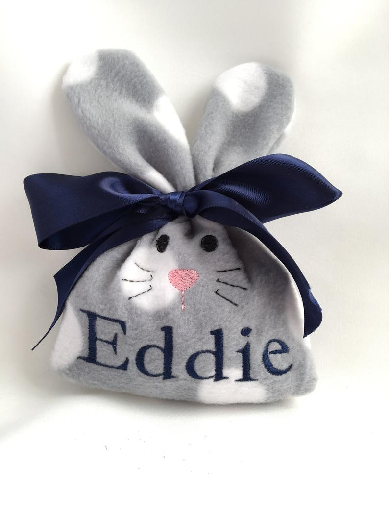 Gray hare bunny Easter goodie bag