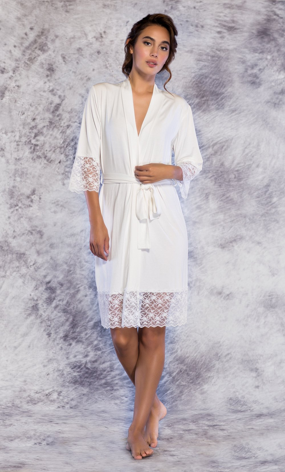 Lace edged bamboo dressing gown and robe