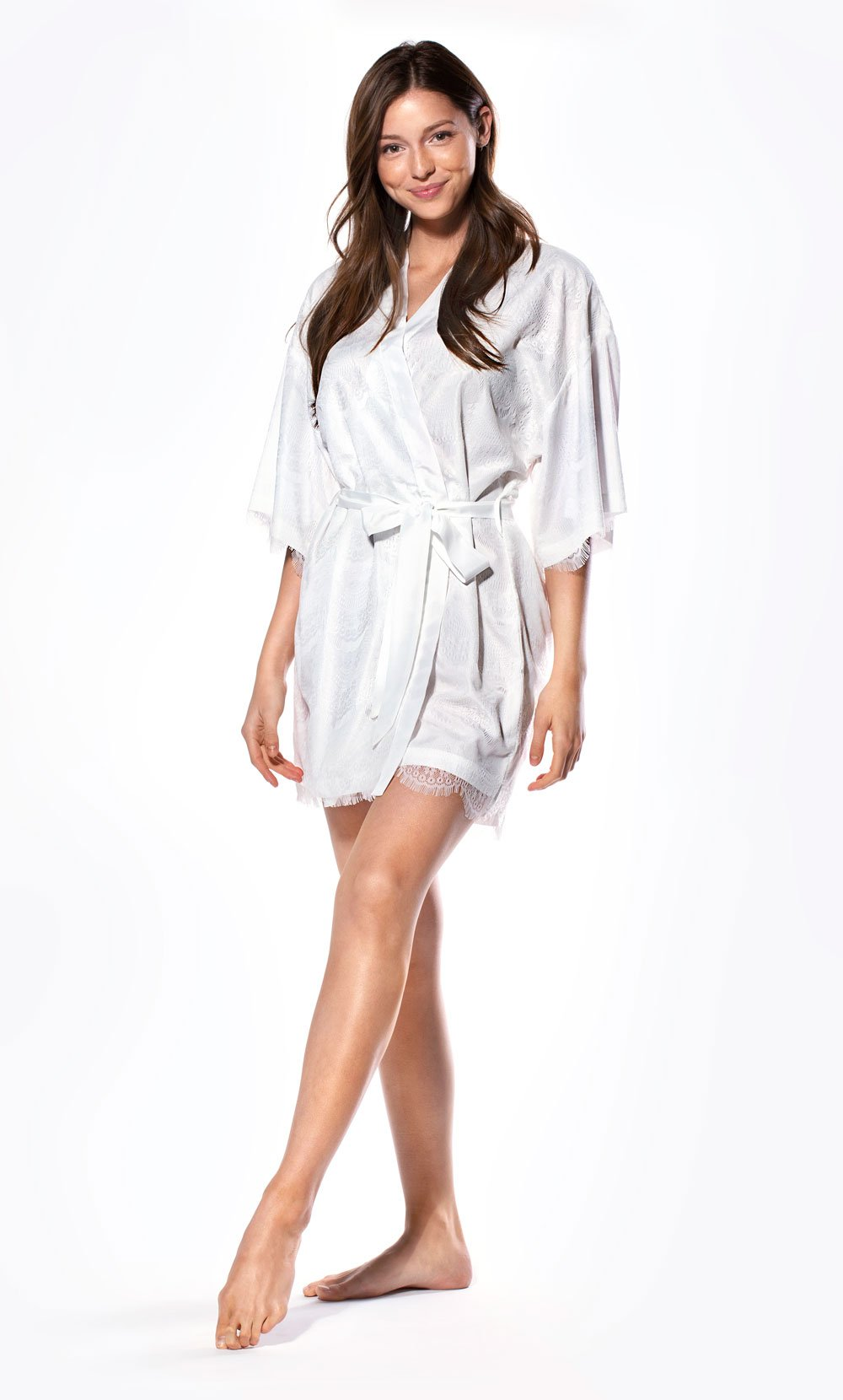 Satin and Lace Kimono Style Bride's Robe and Dressing Gown