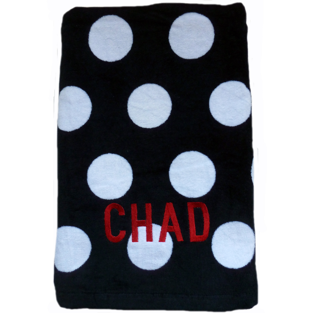 Polka Dot Towel Black