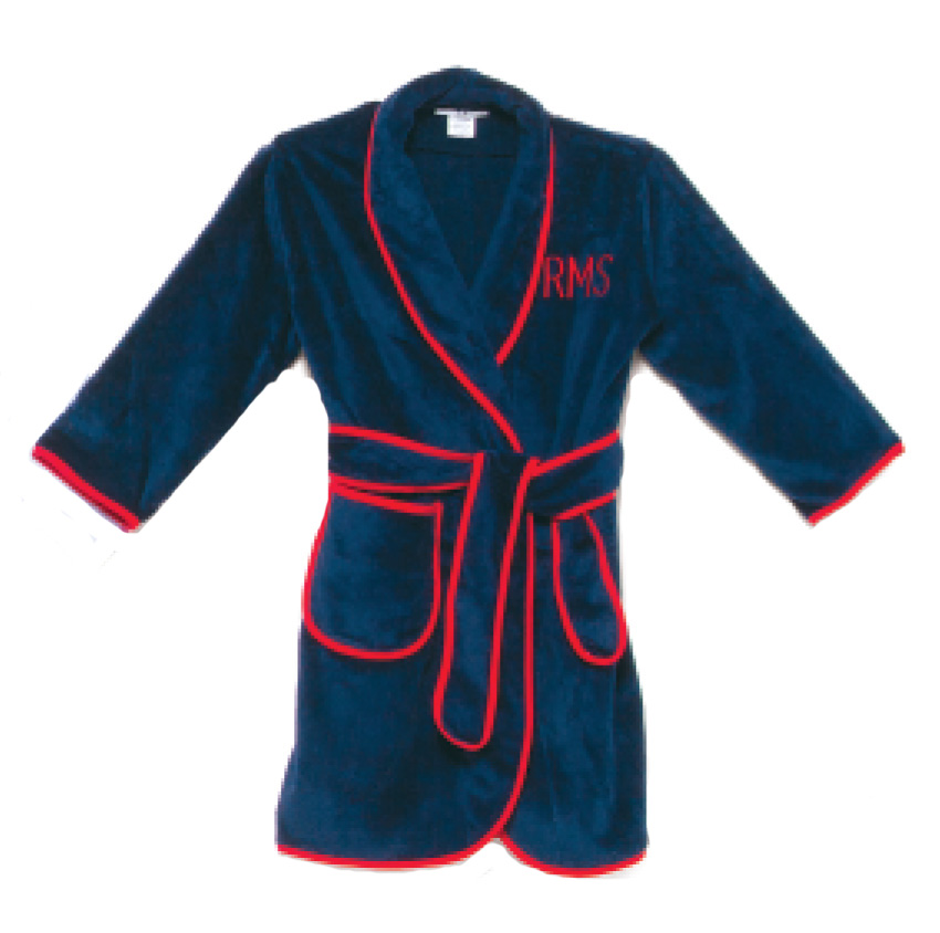 child's terry velour shawl collar robe with contrast piping