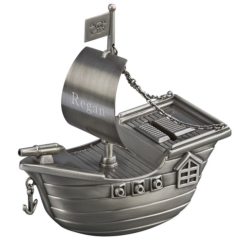 Engraved Pirate Ship Bank
