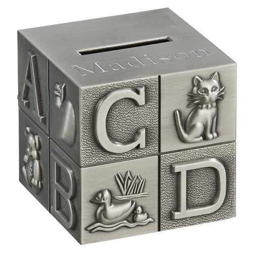 Engraved Baby Block Money Bank