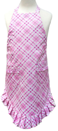 Girl's Pink Plaid Laminated Ruffle Apron