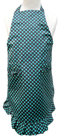 Girl Teal Dot Ruffle Laminated Apron