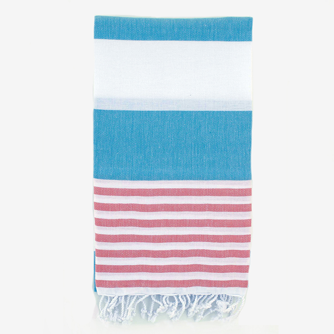 Aqua/Coral Turkish Boreas Style Towels