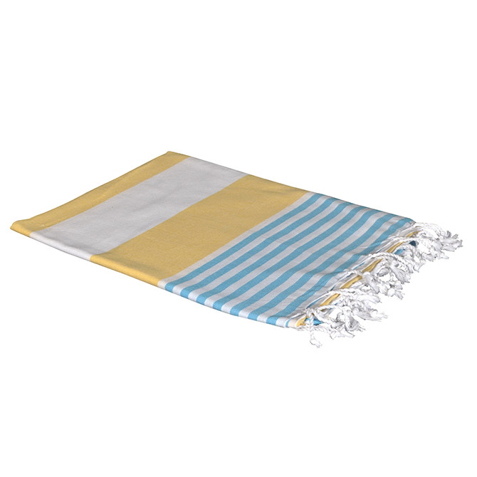 Yellow/Blue Stripe Turkish Boreas Style Towels