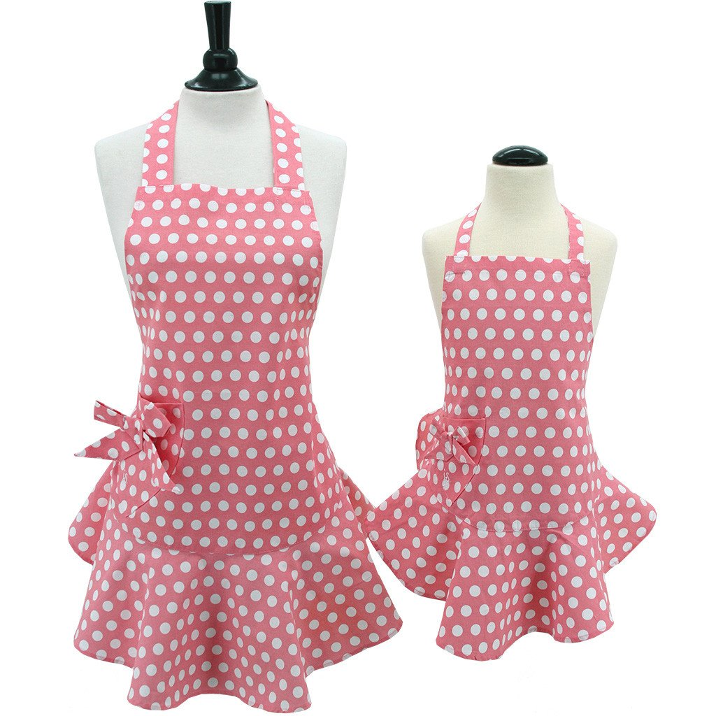 mommy and me pink polka dot apron