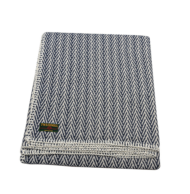 organic cotton herringbone throw blanket navy