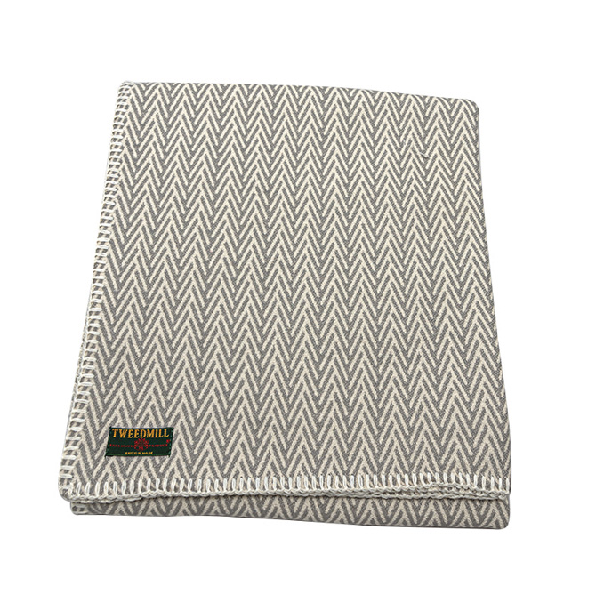 organic cotton herringbone throw blanket silver