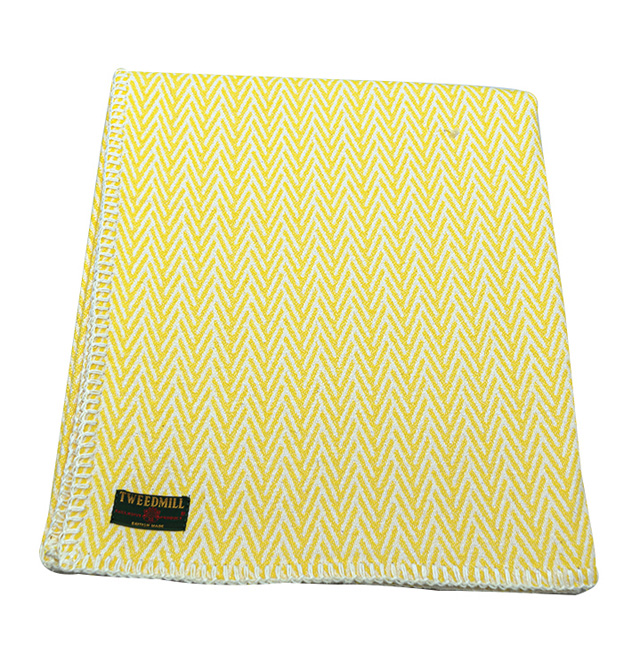 organic cotton herringbone throw blanket yellow